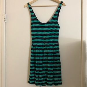 Aqua sleeveless mini dress